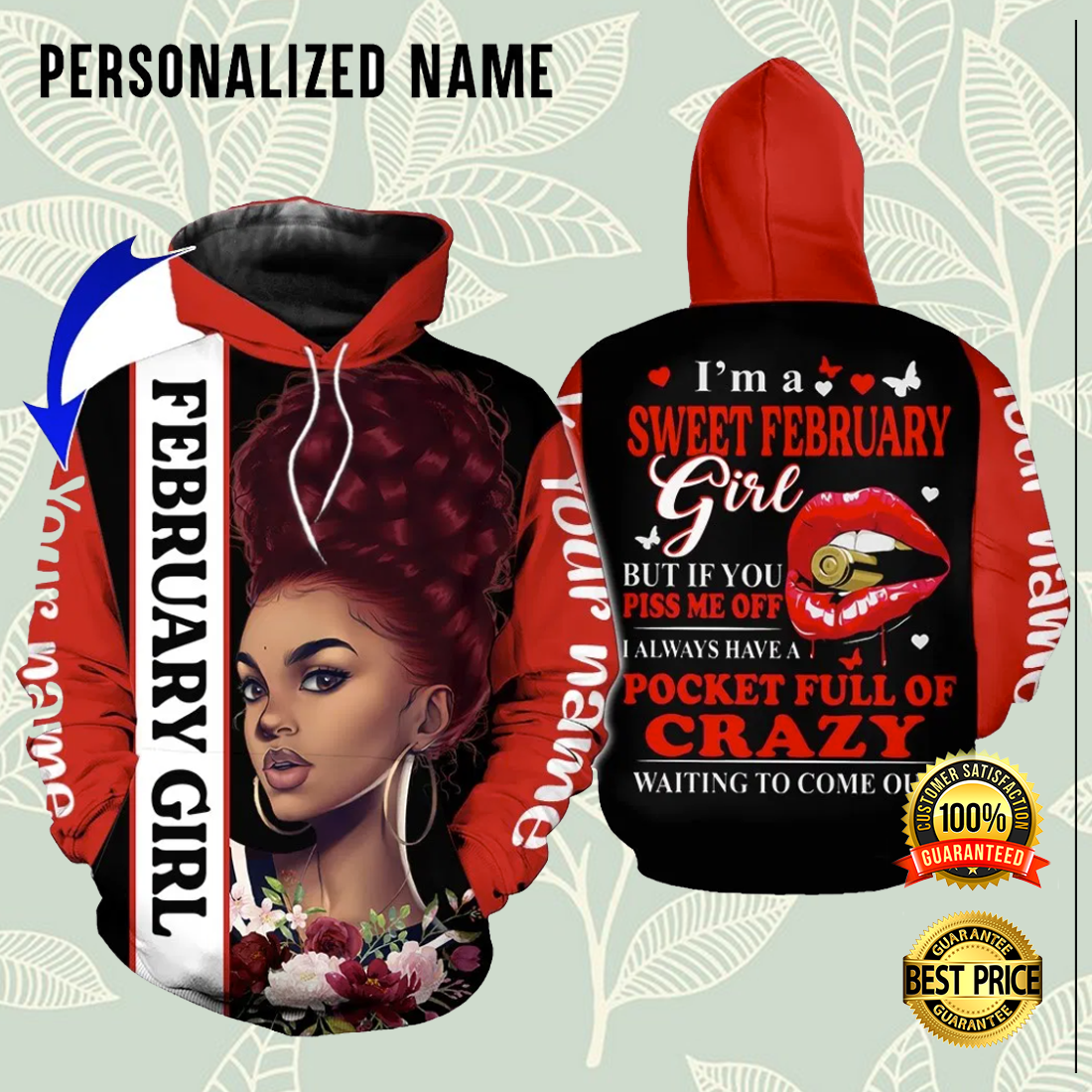 PERSONALIZED I'M A SWEET FEBRUARY GIRL ALL OVER PRINTED 3D HOODIE 5