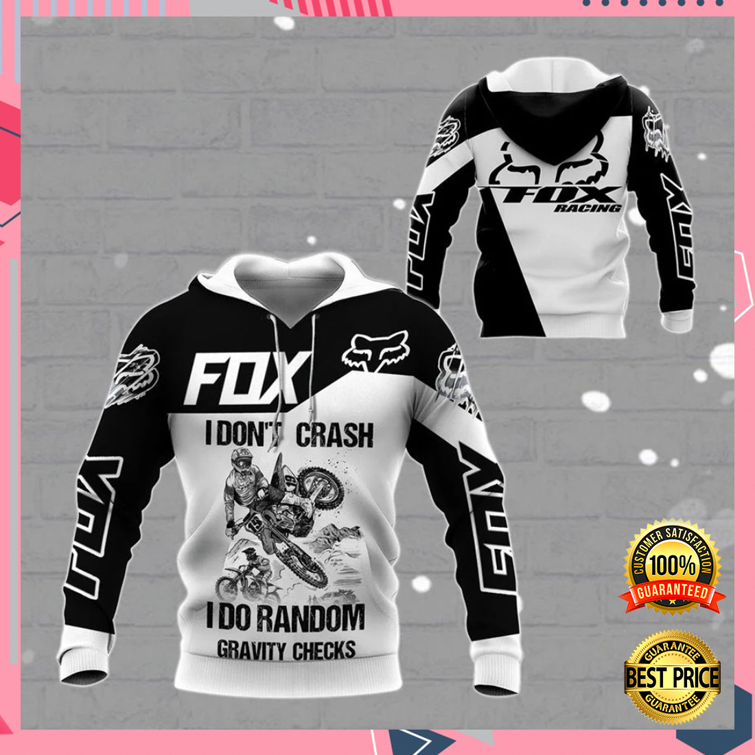 Fox Racing live to ride ride to live go fuck yourself all over printed 3D hoodie 5