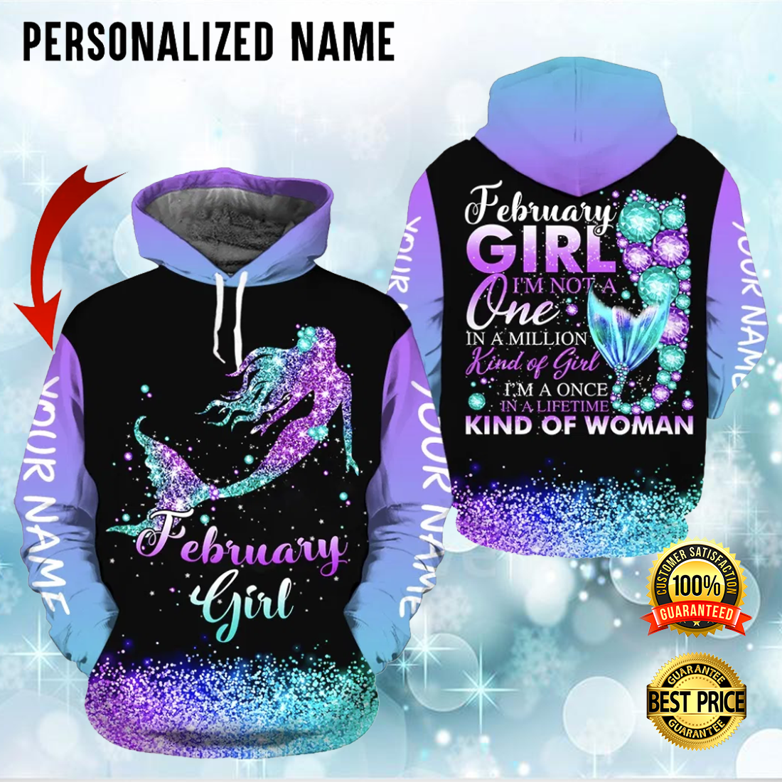 PERSONALIZED MERMAID FEBRUARY GIRL I'M NOT A ONE IN A MILLION KIND OF GIRL ALL OVER PRINTED 3D HOODIE 6