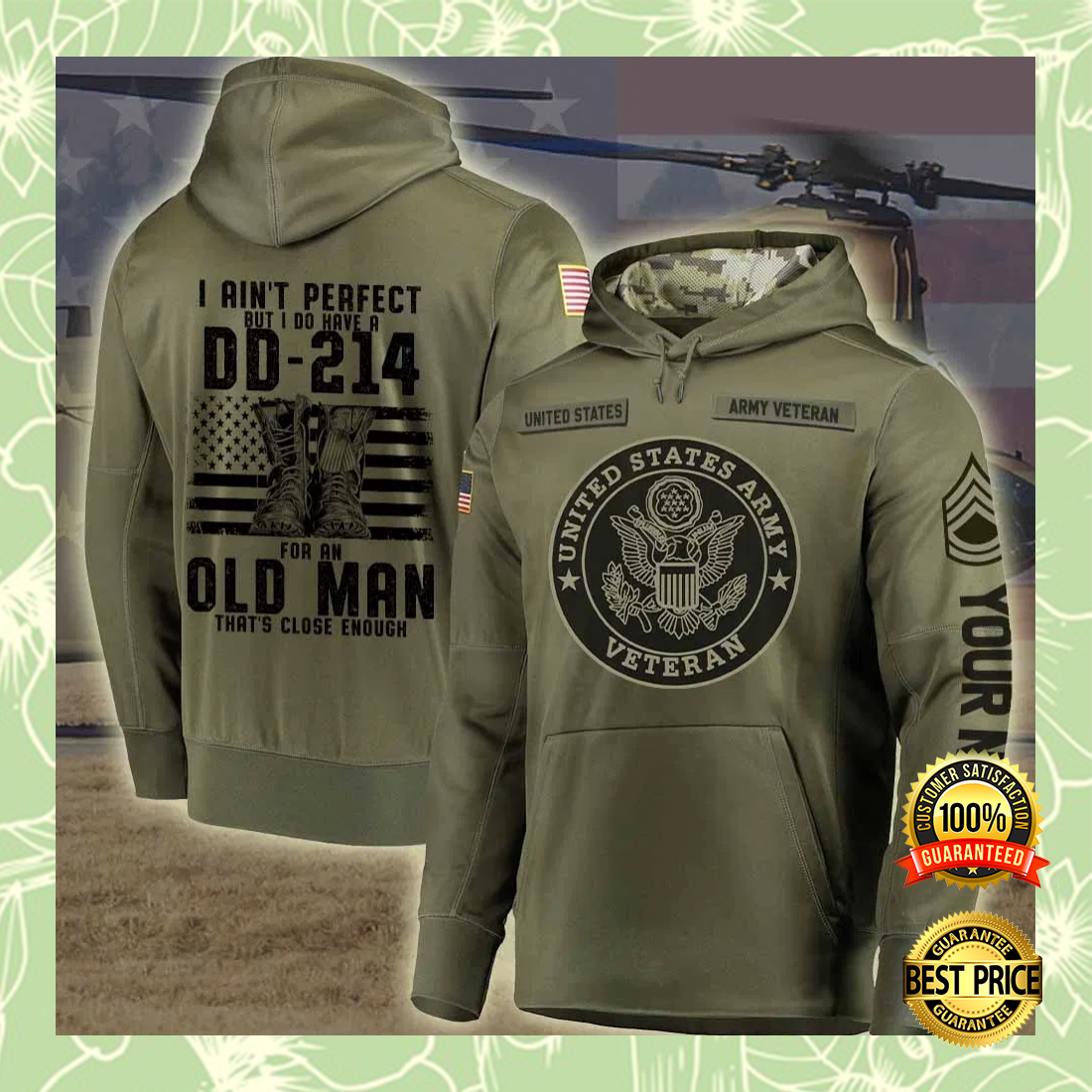 Personalized US Army i ain't perfect but i do have a dd 214 for an old man all over printed 3D hoodie 5