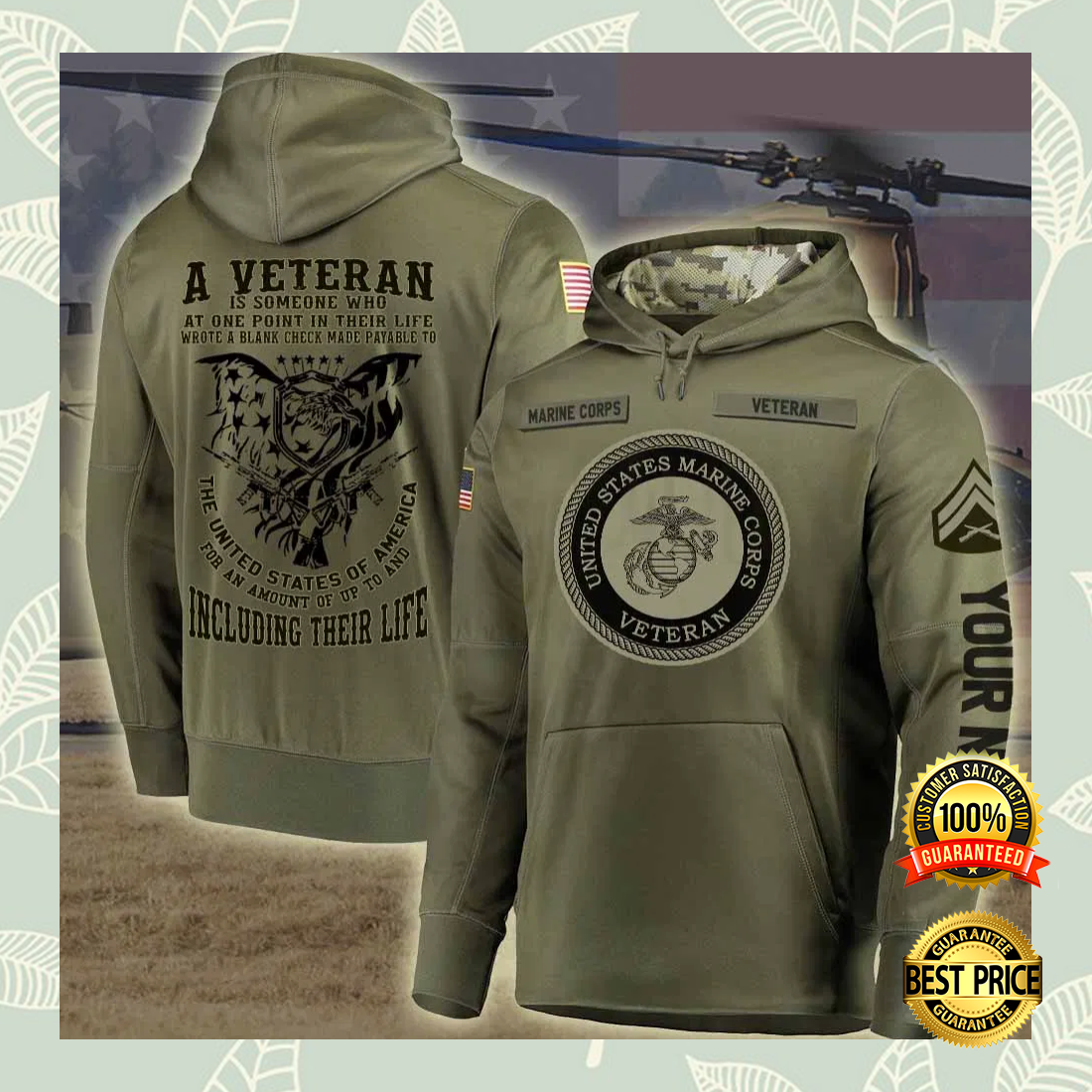 Personalized US Marine Corps A Veteran Is Someone Who At One Point In Their Life all over printed 3D hoodie 5