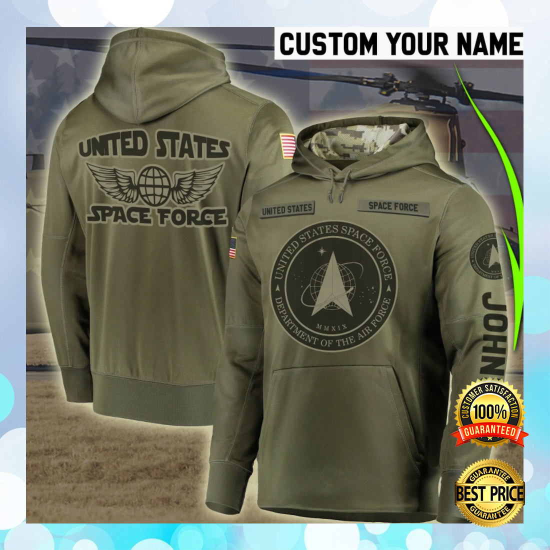 PERSONALIZED US SPACE FORCE ALL OVER PRINTED 3D HOODIE 4