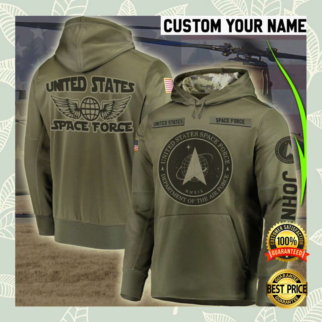 PERSONALIZED US SPACE FORCE ALL OVER PRINTED 3D HOODIE 5