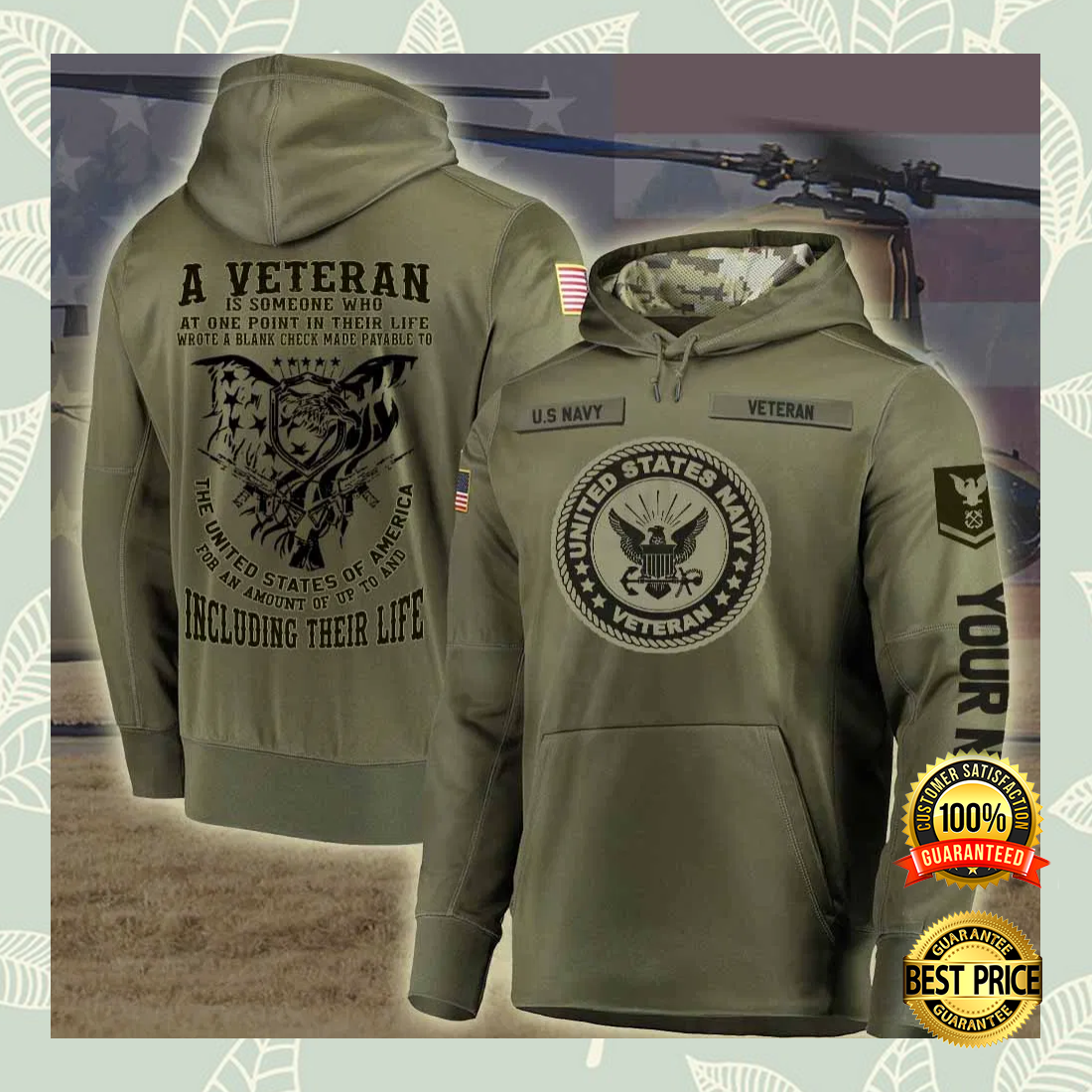PERSONALIZED US NAVY A VETERAN IS SOMEONE WHO AT ONE POINT IN THEIR LIFE ALL OVER PRINTED 3D HOODIE 4