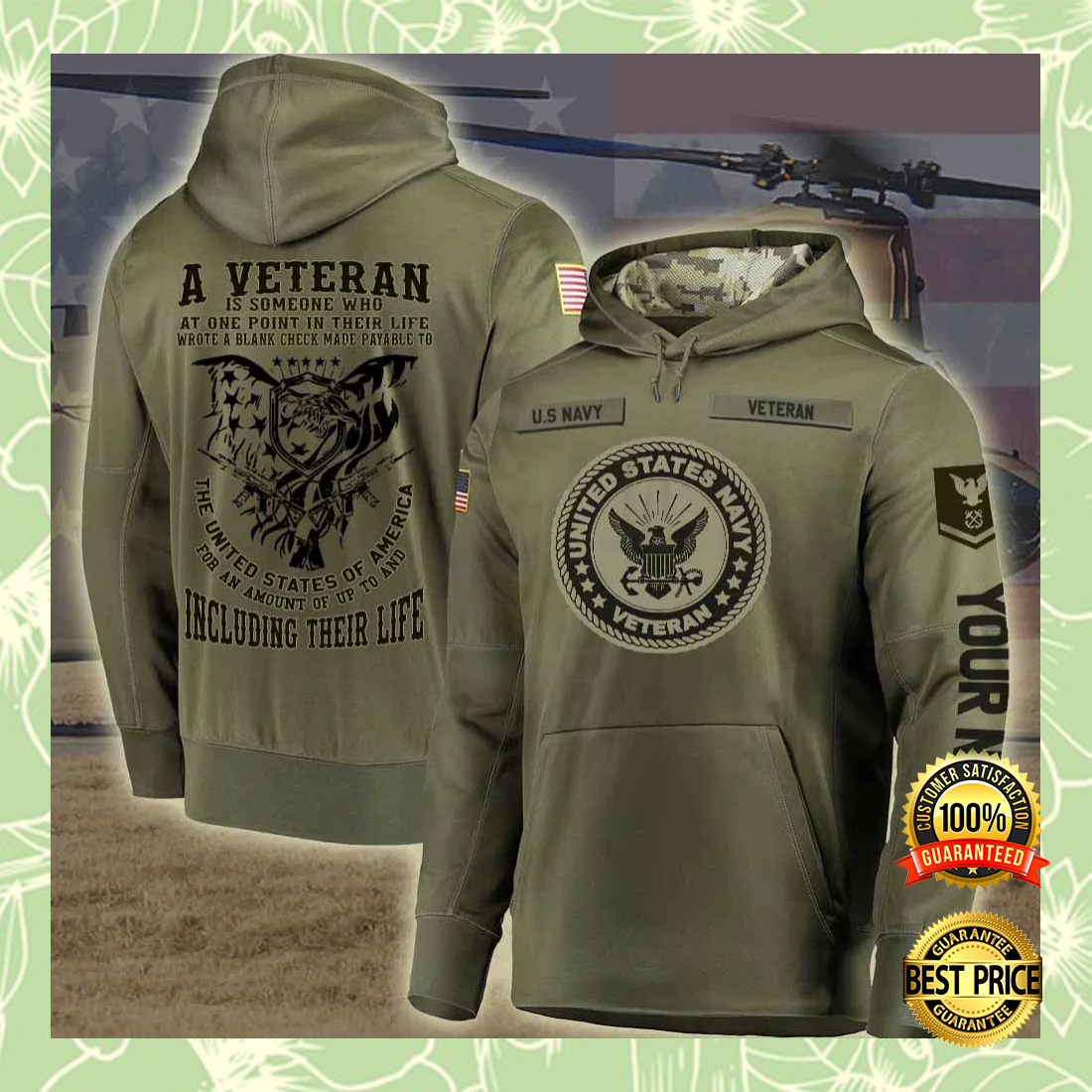 PERSONALIZED US NAVY A VETERAN IS SOMEONE WHO AT ONE POINT IN THEIR LIFE ALL OVER PRINTED 3D HOODIE 5
