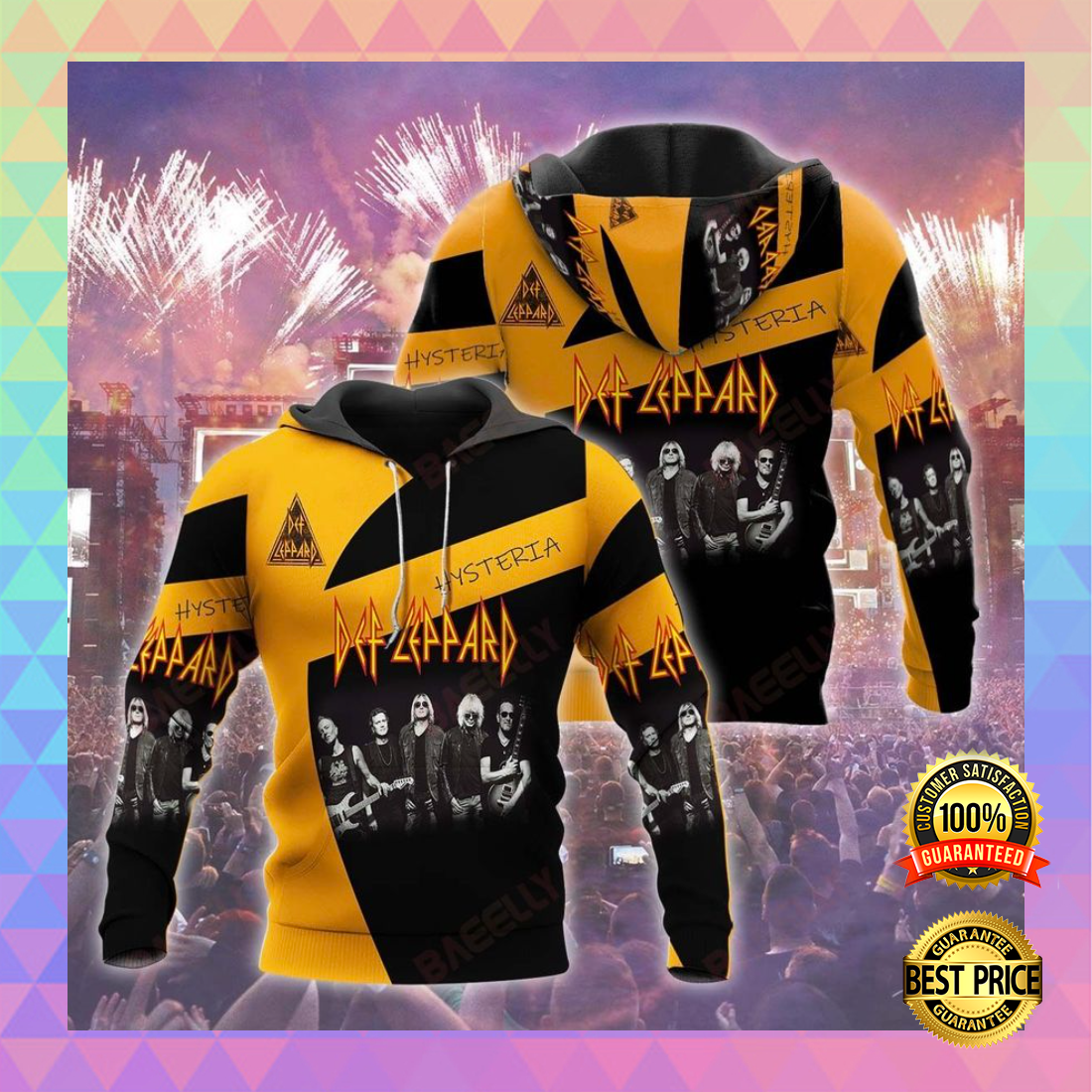 DEF LEPPARD ALL OVER PRINT 3D HOODIE 5