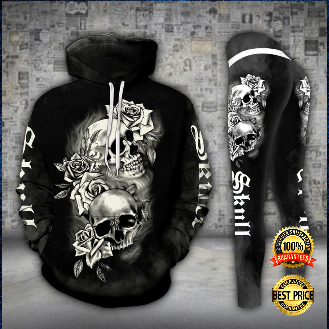 GOTHIC SKULL ALL OVER PRINT 3D HOODIE AND LEGGING 3