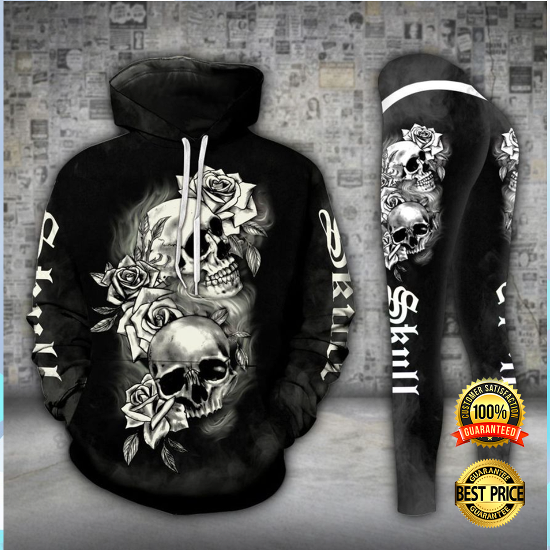 GOTHIC SKULL ALL OVER PRINT 3D HOODIE AND LEGGING 4