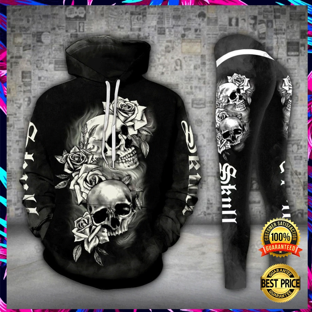 GOTHIC SKULL ALL OVER PRINT 3D HOODIE AND LEGGING 5