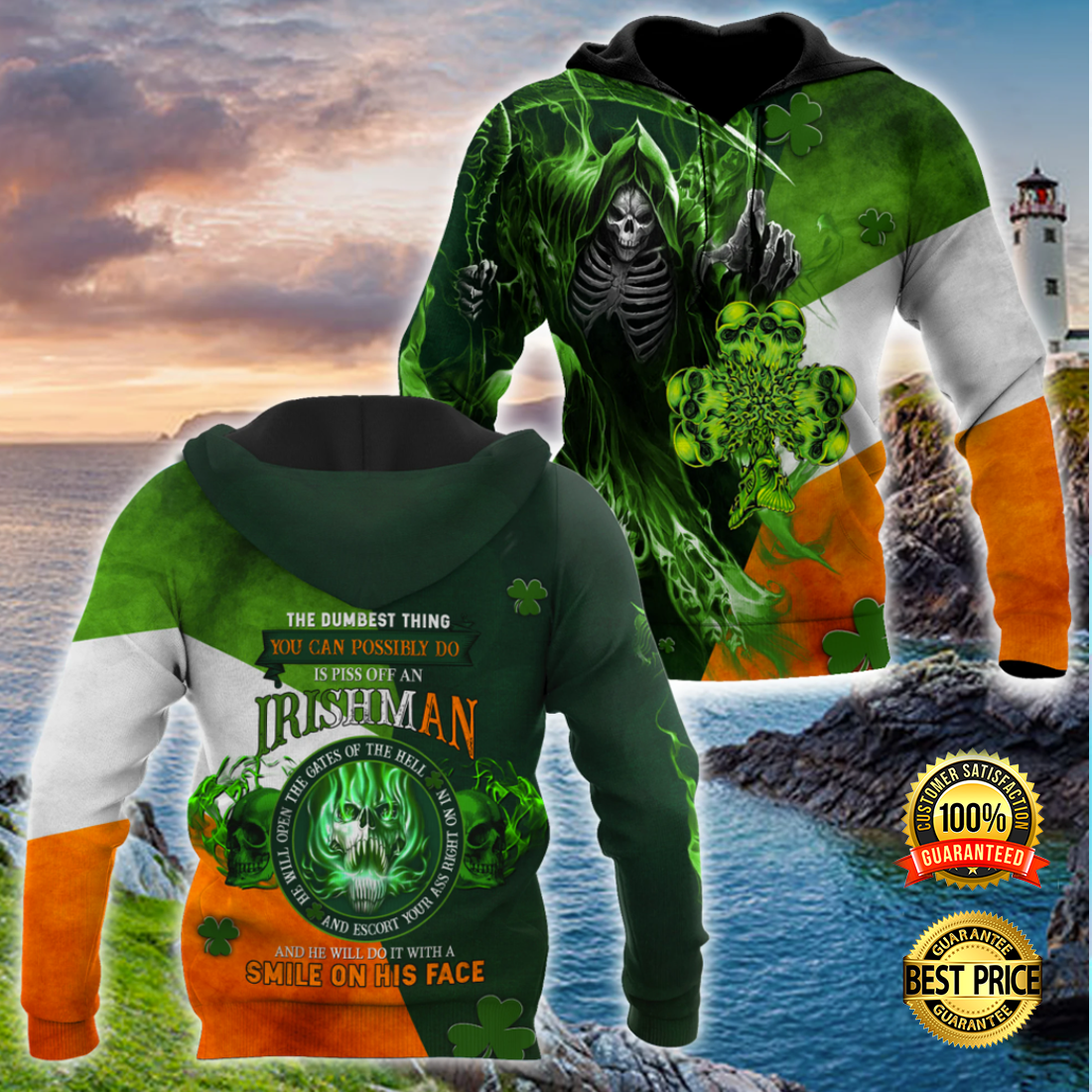 THE DUMBEST THING YOU CAN POSSIBLE DO IS PISS OFF AN IRISH MAN ALL OVER PRINT 3D HOODIE 5