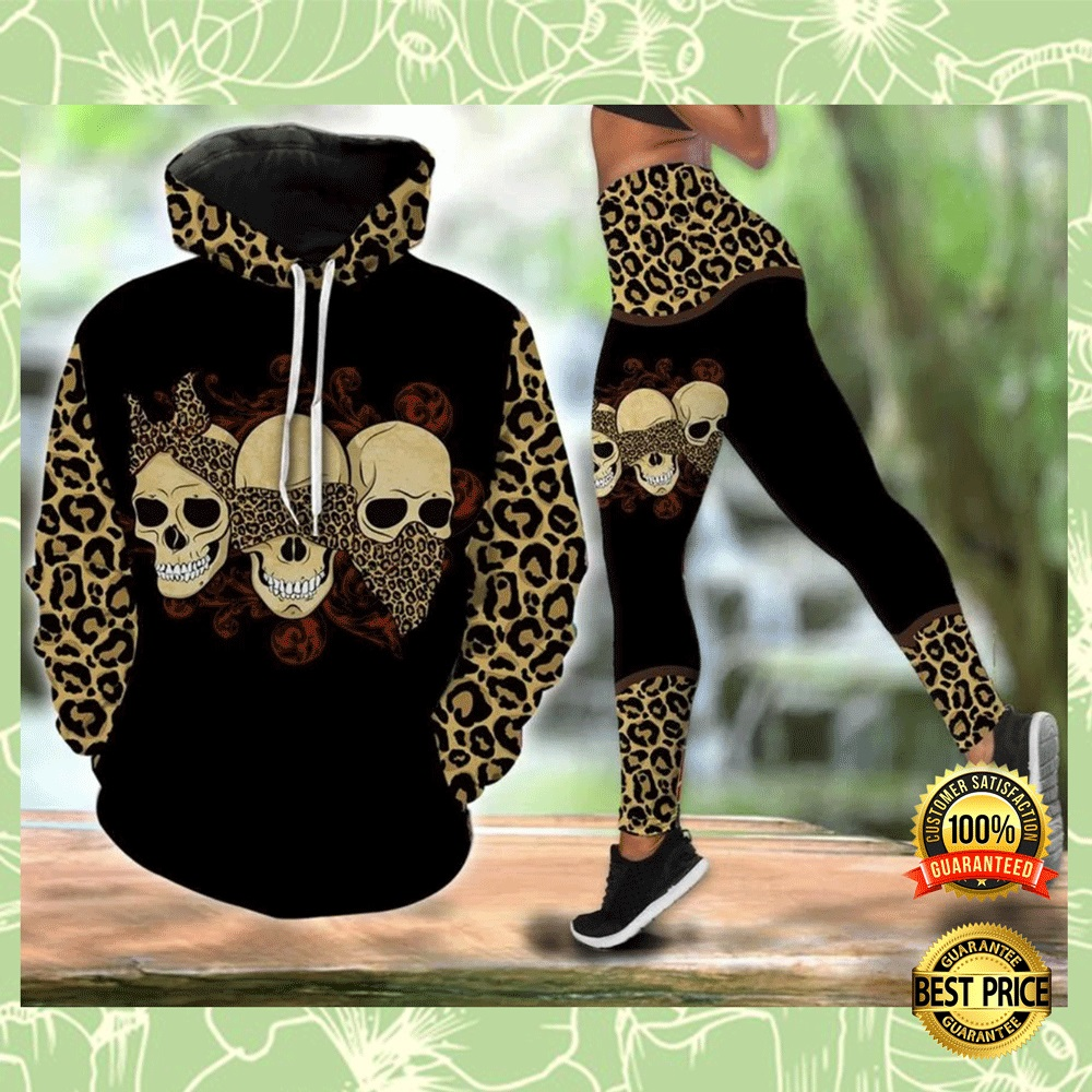 [Great] Three Skulls Mom Leopard Leather All Over Printed 3d Hoodie And Legging