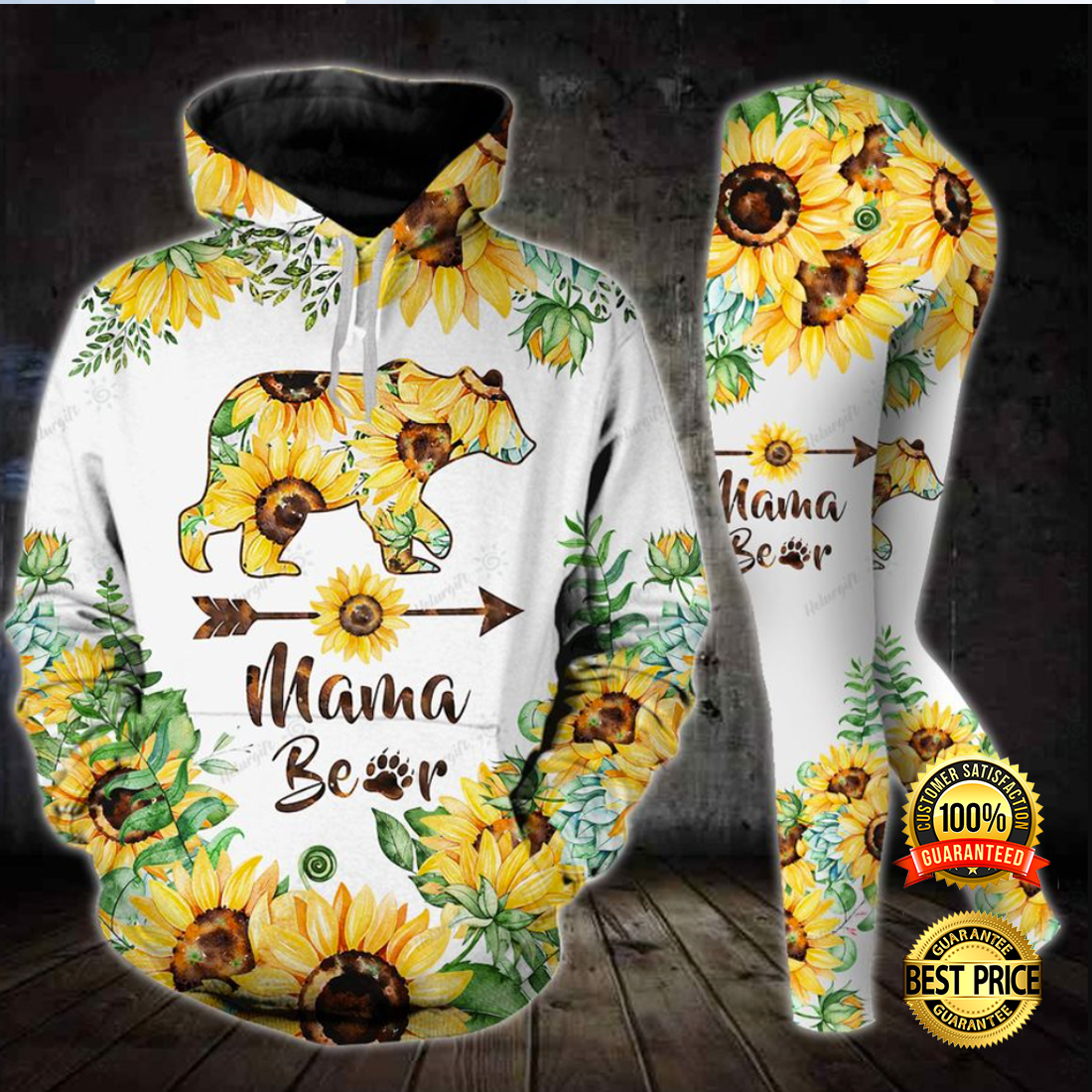 [Newest] Sunflower Mama Bear All Over Print 3d Hoodie And Legging