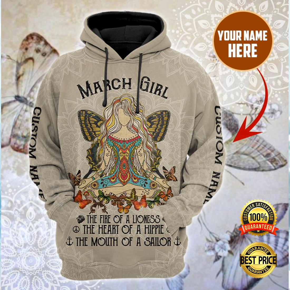 PERSONALIZED NAMASTE MARCH GIRL ALL OVER PRINTED 3D HOODIE 5
