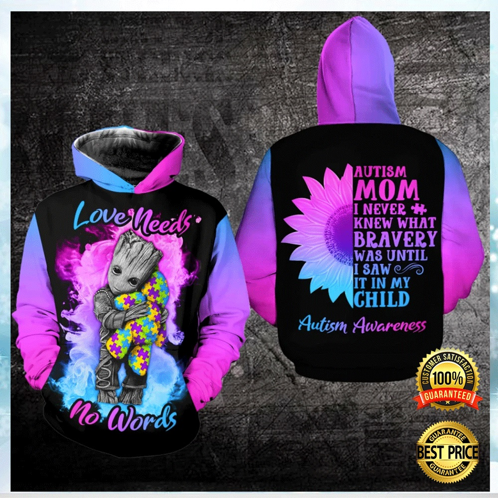 AUTISM LOVE NEEDS NO WORDS ALL OVER PRINTED 3D HOODIE 4