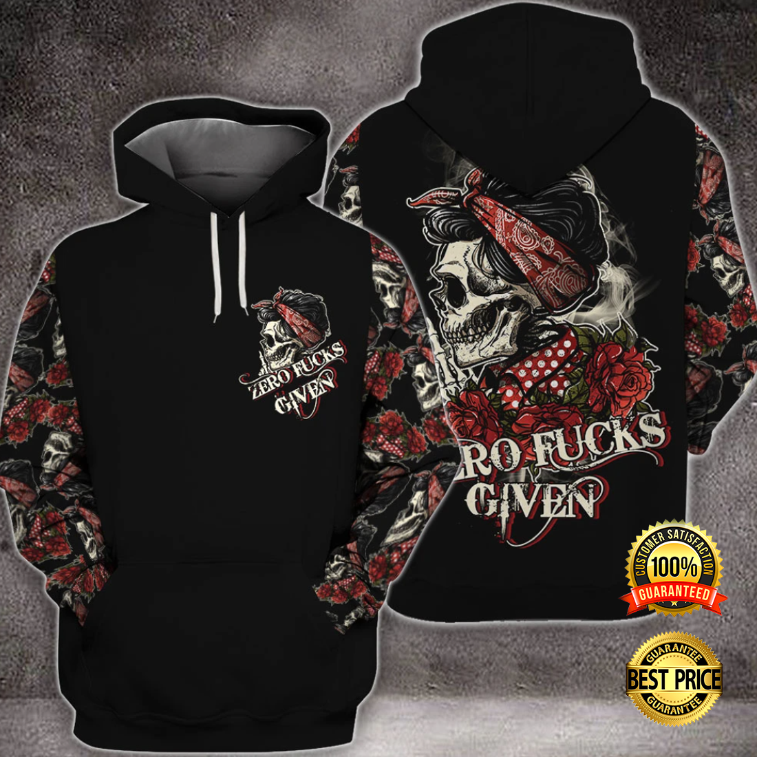 SKULL ZERO FUCKS GIVEN ALL OVER PRINTED 3D HOODIE 5