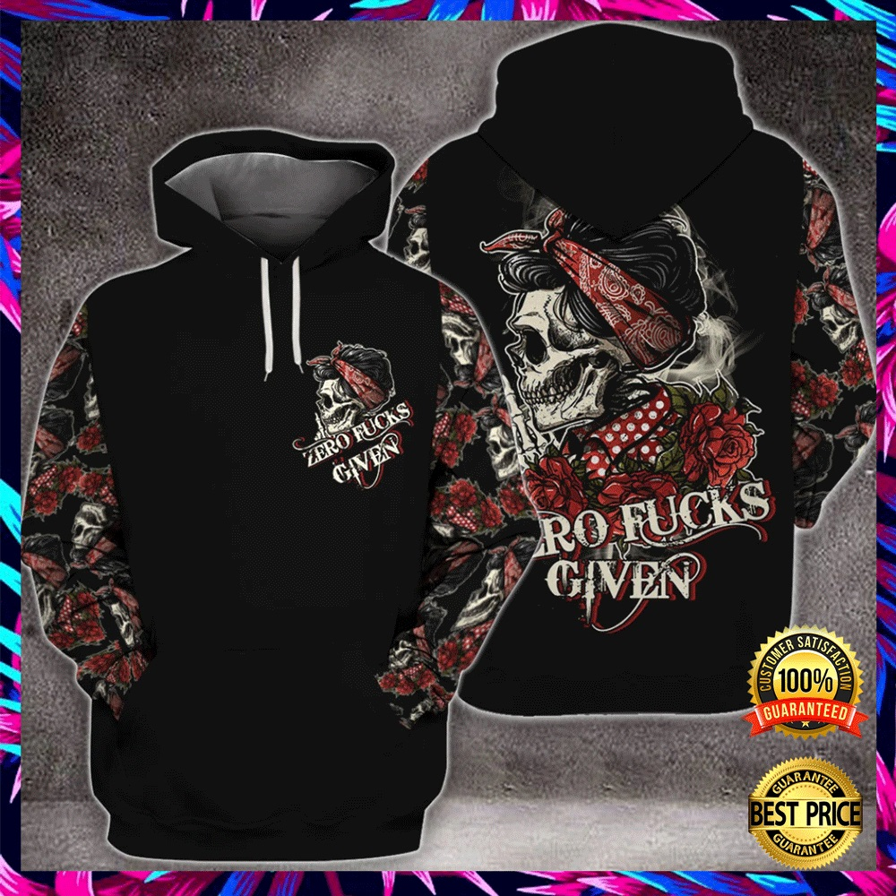 SKULL ZERO FUCKS GIVEN ALL OVER PRINTED 3D HOODIE 6