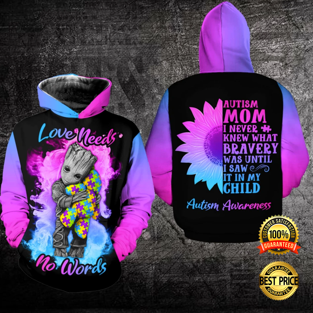 AUTISM LOVE NEEDS NO WORDS ALL OVER PRINTED 3D HOODIE 5