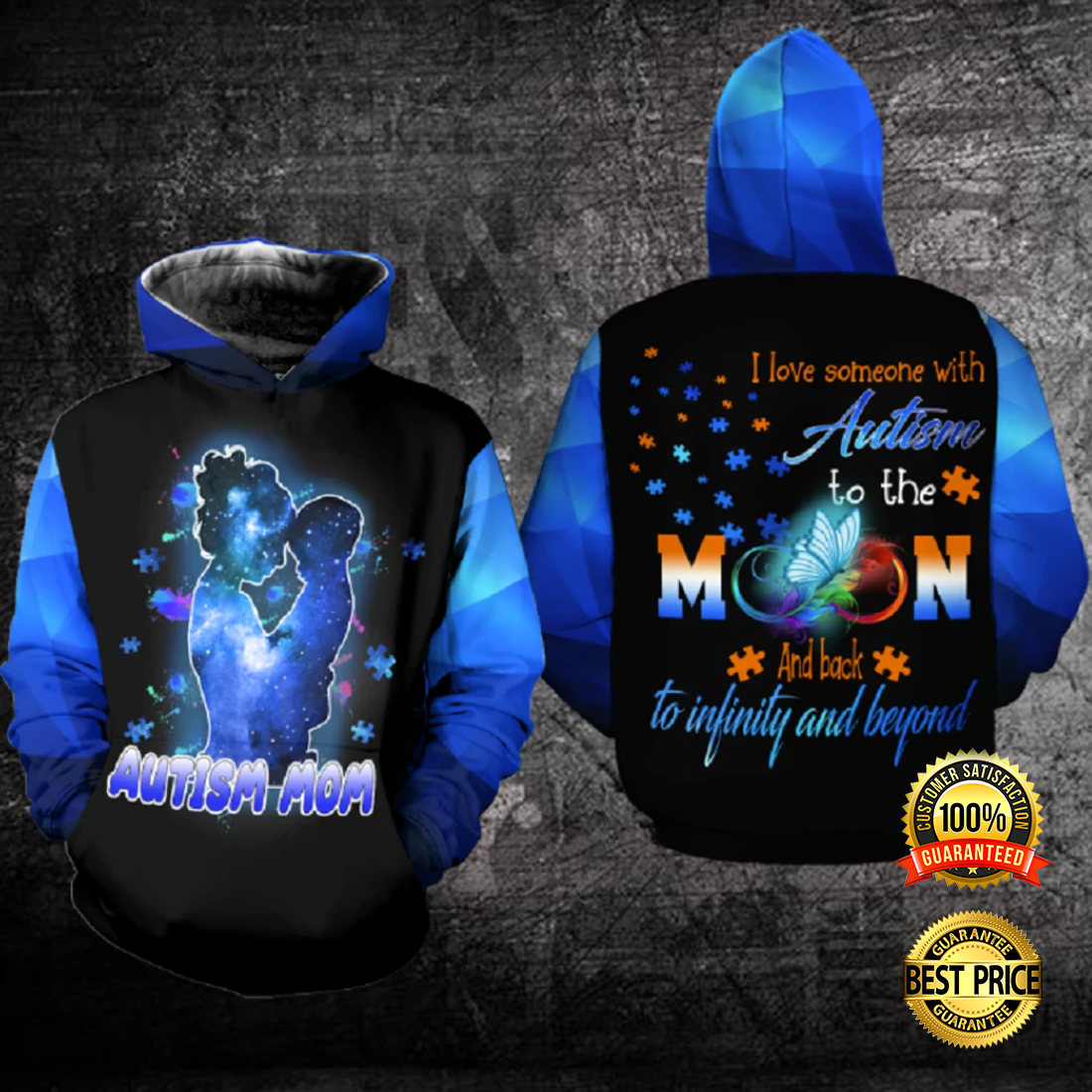 AUTISM MOM I LOVE SOMEONE WITH AUTISM TO THE MOON AND BACK ALL OVER PRINTED 3D HOODIE 5