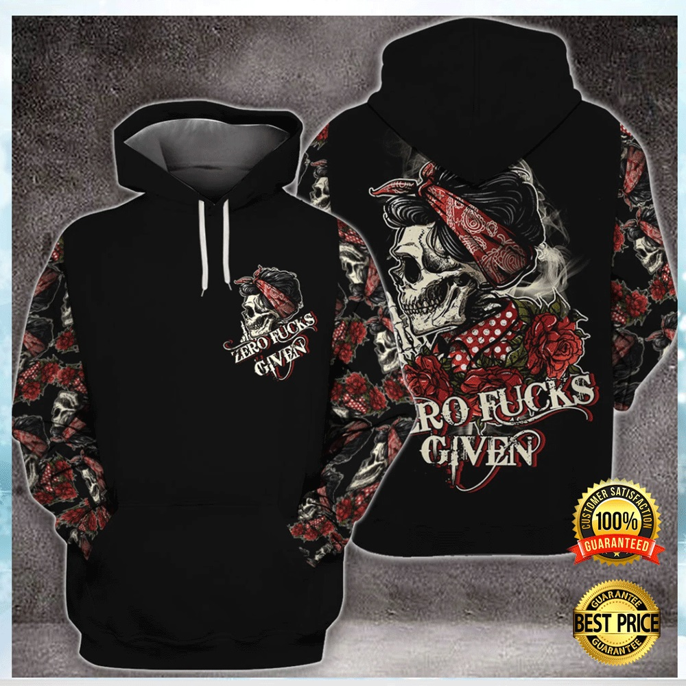 SKULL ZERO FUCKS GIVEN ALL OVER PRINTED 3D HOODIE 7