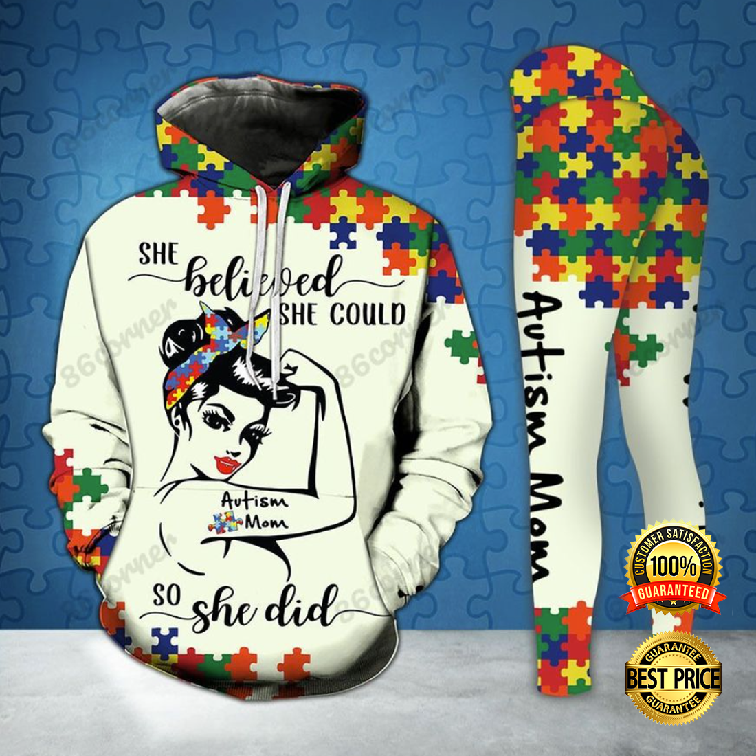 AUTISM MOM SHE BELIEVED SHE COULD SO SHE DID ALL OVER PRINTED 3D HOODIE AND LEGGING 5