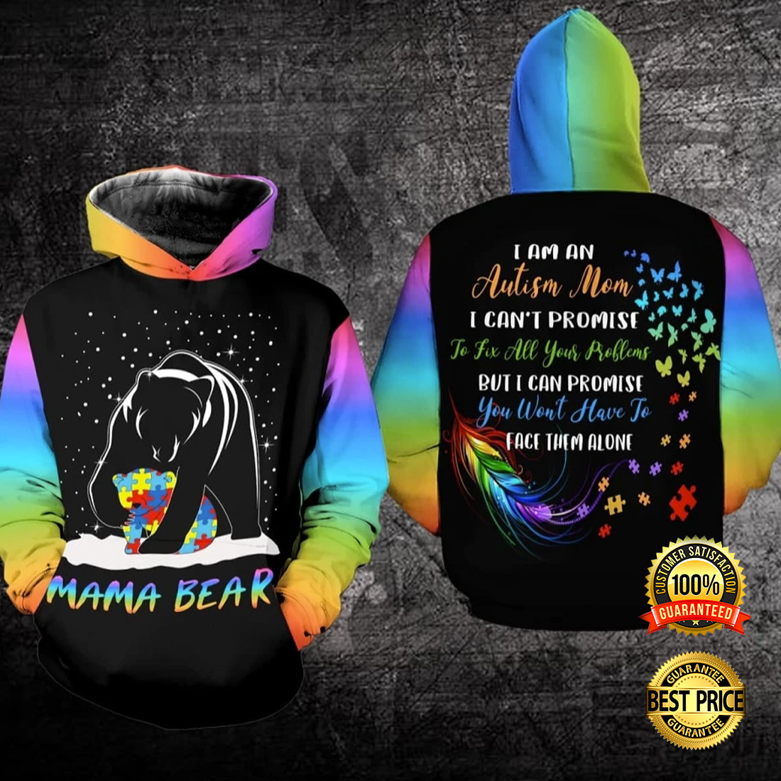 AUTISM MAMA BEAR ALL OVER PRINTED 3D HOODIE 5