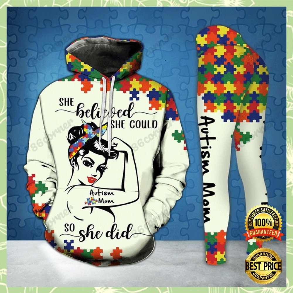 AUTISM MOM SHE BELIEVED SHE COULD SO SHE DID ALL OVER PRINTED 3D HOODIE AND LEGGING 4