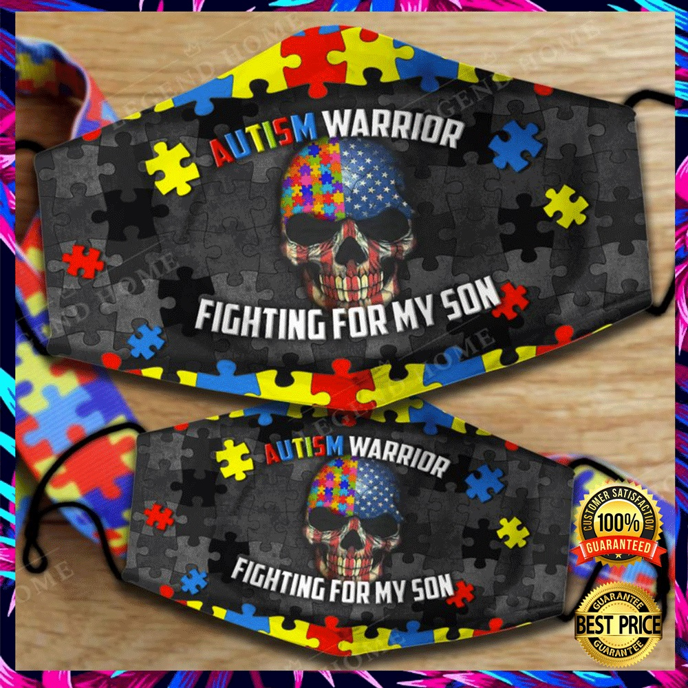 AUTISM WARRIOR FIGHTING FOR MY SON FACE MASK 6