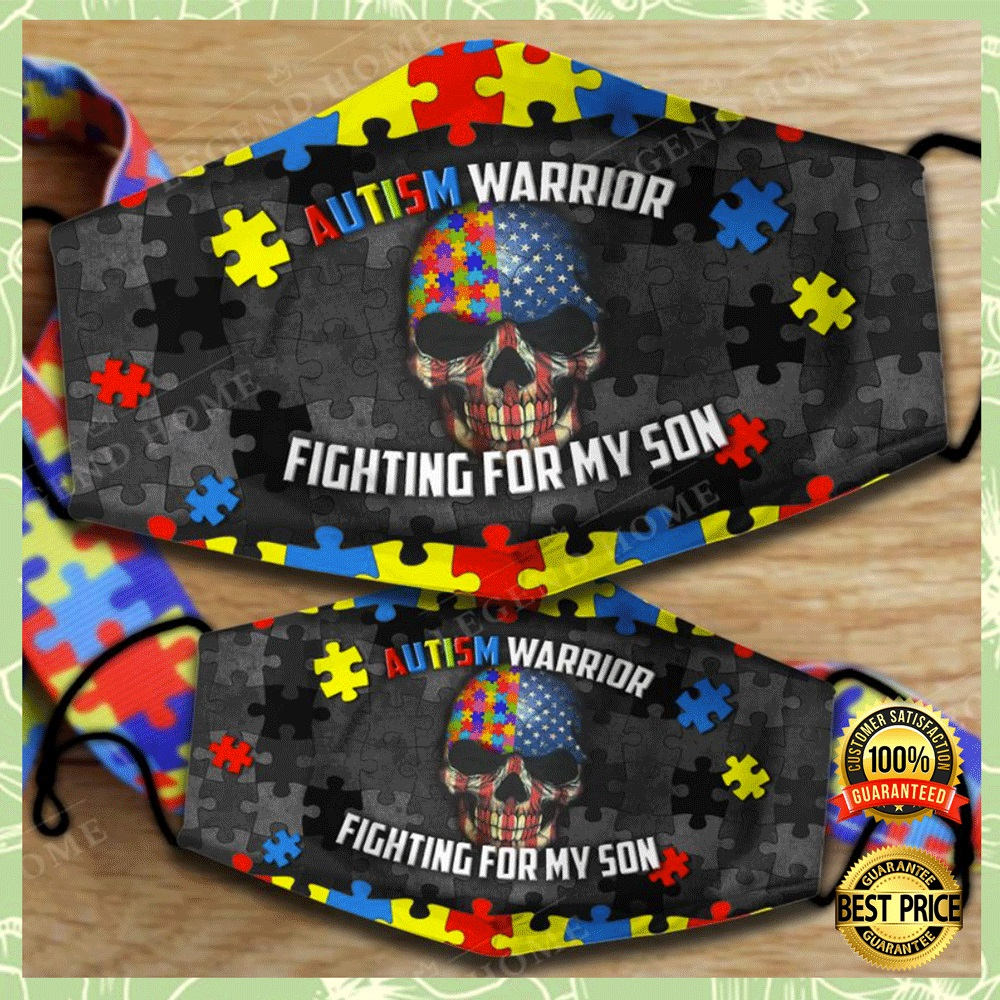 AUTISM WARRIOR FIGHTING FOR MY SON FACE MASK 4