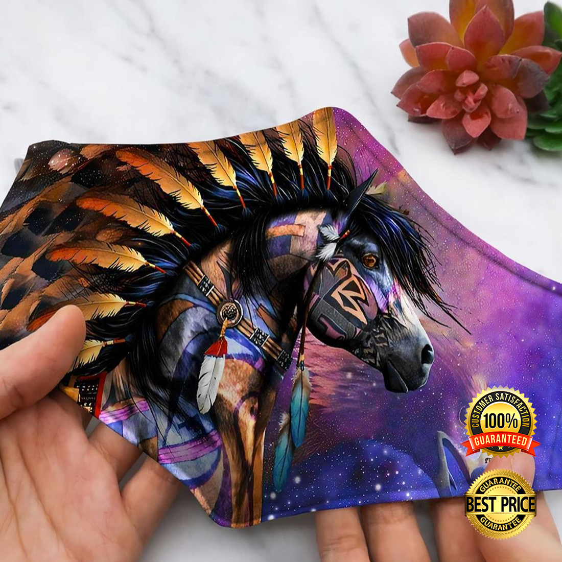 HORSE NATIVE AMERICAN FACE MASK 5