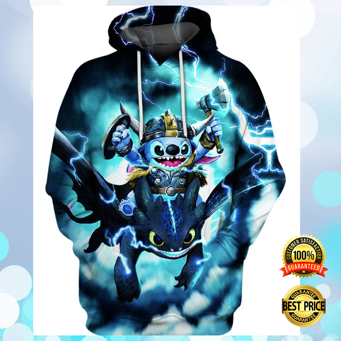 STITCH AND TOOTHLESS VIKING THUNDER ALL OVER PRINTED 3D HOODIE 5