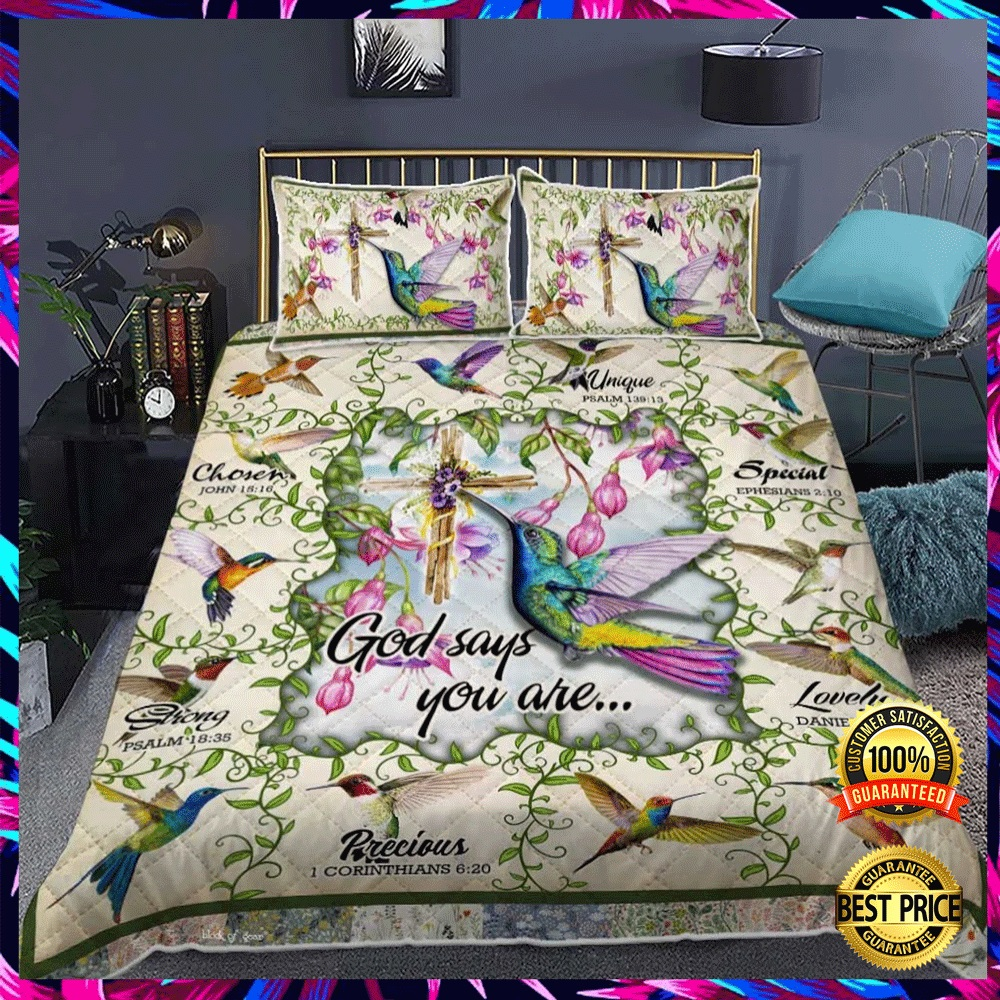 HUMMINGBIRD GOD SAYS YOU ARE UNIQUE SPECIAL LOVELY BEDDING SET 5