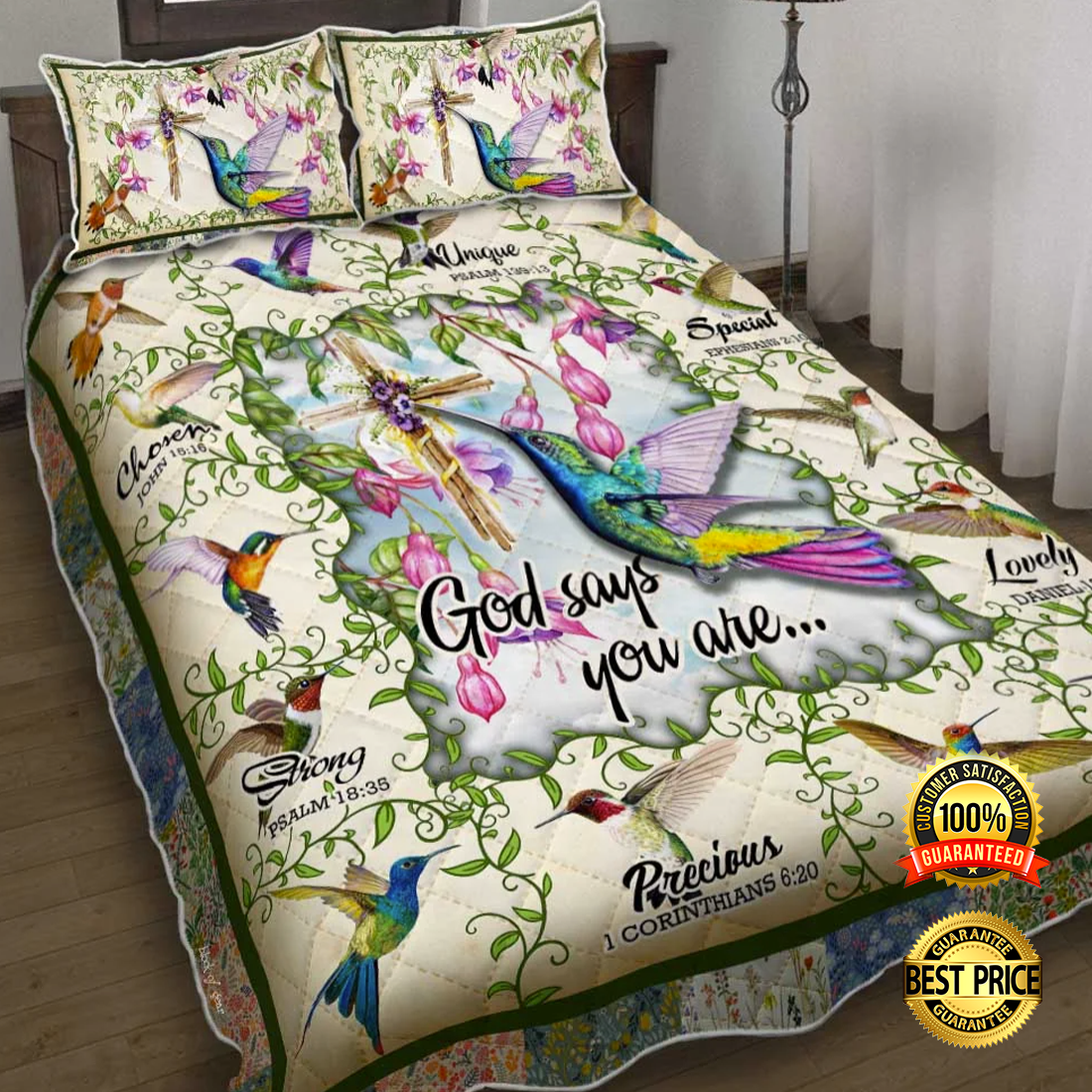 HUMMINGBIRD GOD SAYS YOU ARE UNIQUE SPECIAL LOVELY BEDDING SET 6