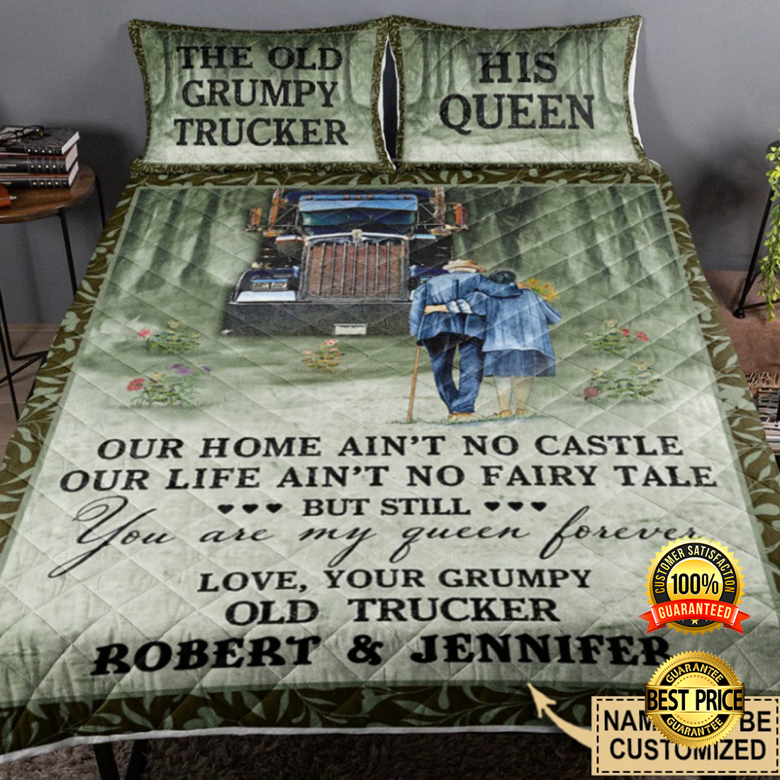 PERSONALIZED THE OLD GRUMPY TRUCKER AND HIS QUEEN BEDDING SET 6