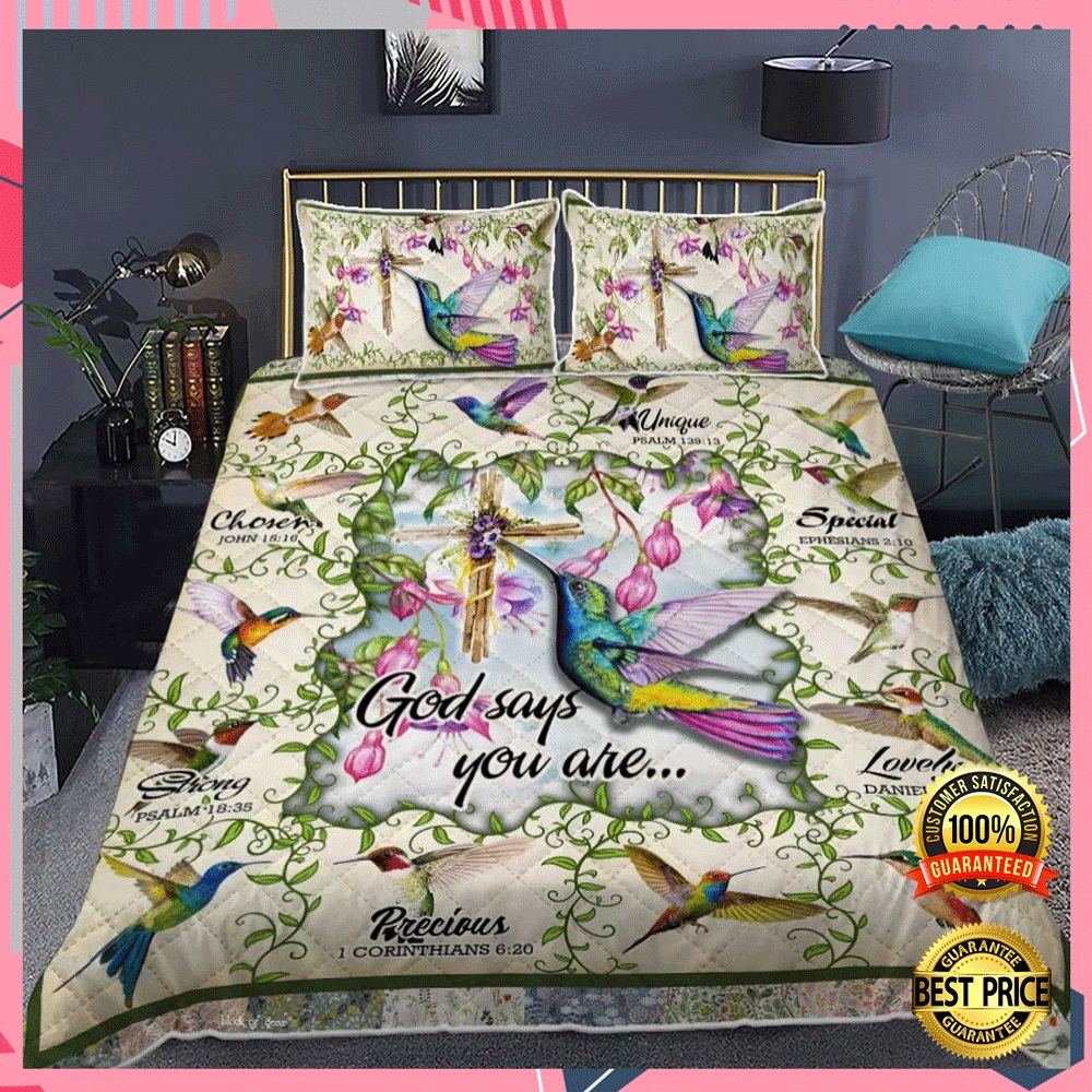 HUMMINGBIRD GOD SAYS YOU ARE UNIQUE SPECIAL LOVELY BEDDING SET 4