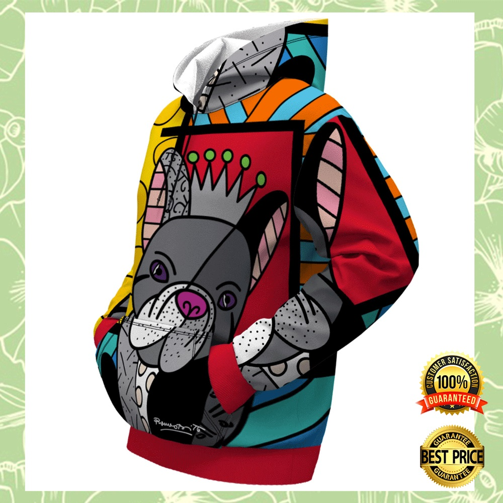 FRENCH BULLDOG BY ROMERO BRITTO ALL OVER PRINTED 3D HOODIE 4