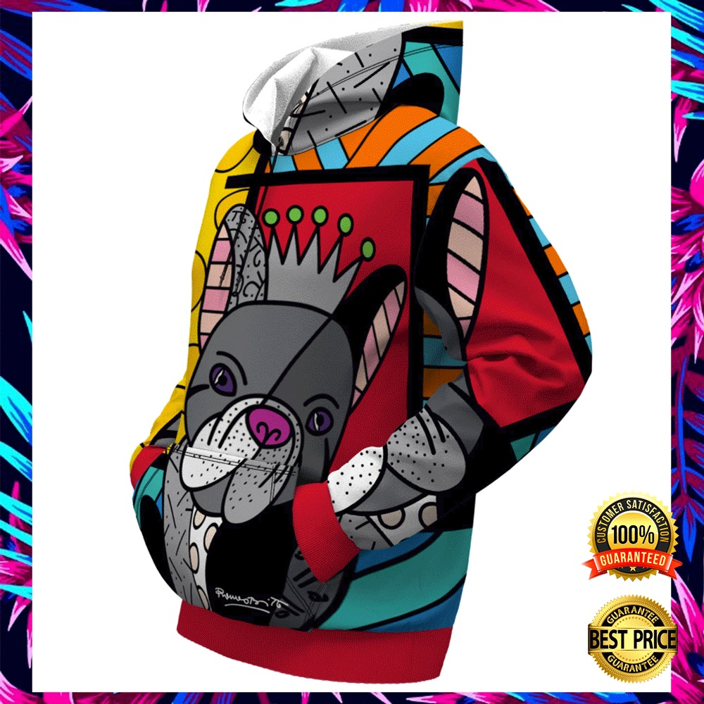 FRENCH BULLDOG BY ROMERO BRITTO ALL OVER PRINTED 3D HOODIE 5