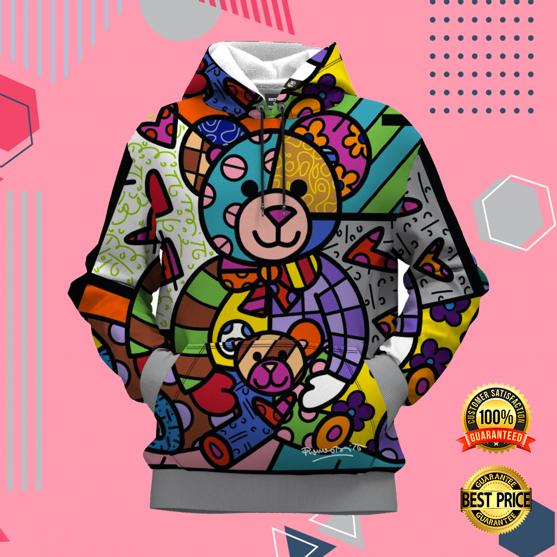 BEAR FAMILY BY ROMERO BRITTO ALL OVER PRINTED 3D HOODIE 6