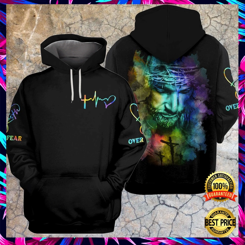 JESUS FAITH OVER FEAR COLORFUL ALL OVER PRINTED 3D HOODIE 6