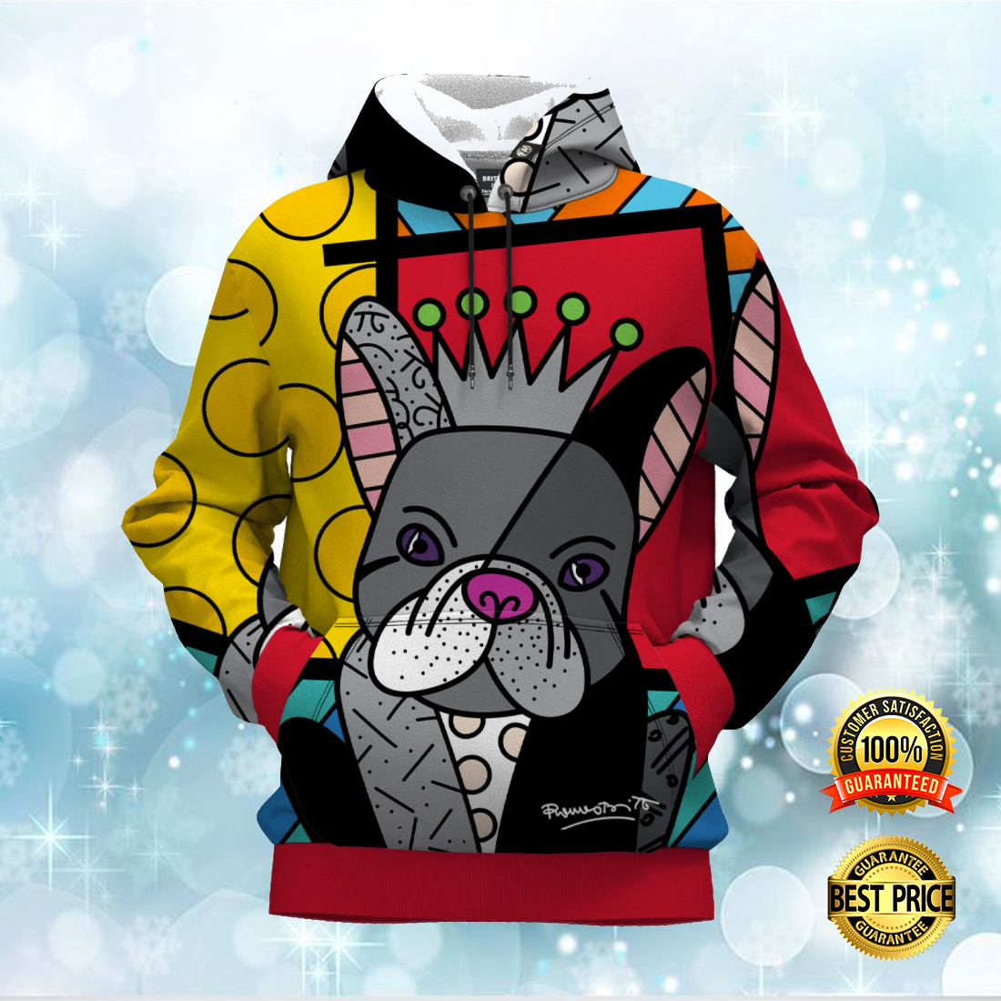 FRENCH BULLDOG BY ROMERO BRITTO ALL OVER PRINTED 3D HOODIE 6