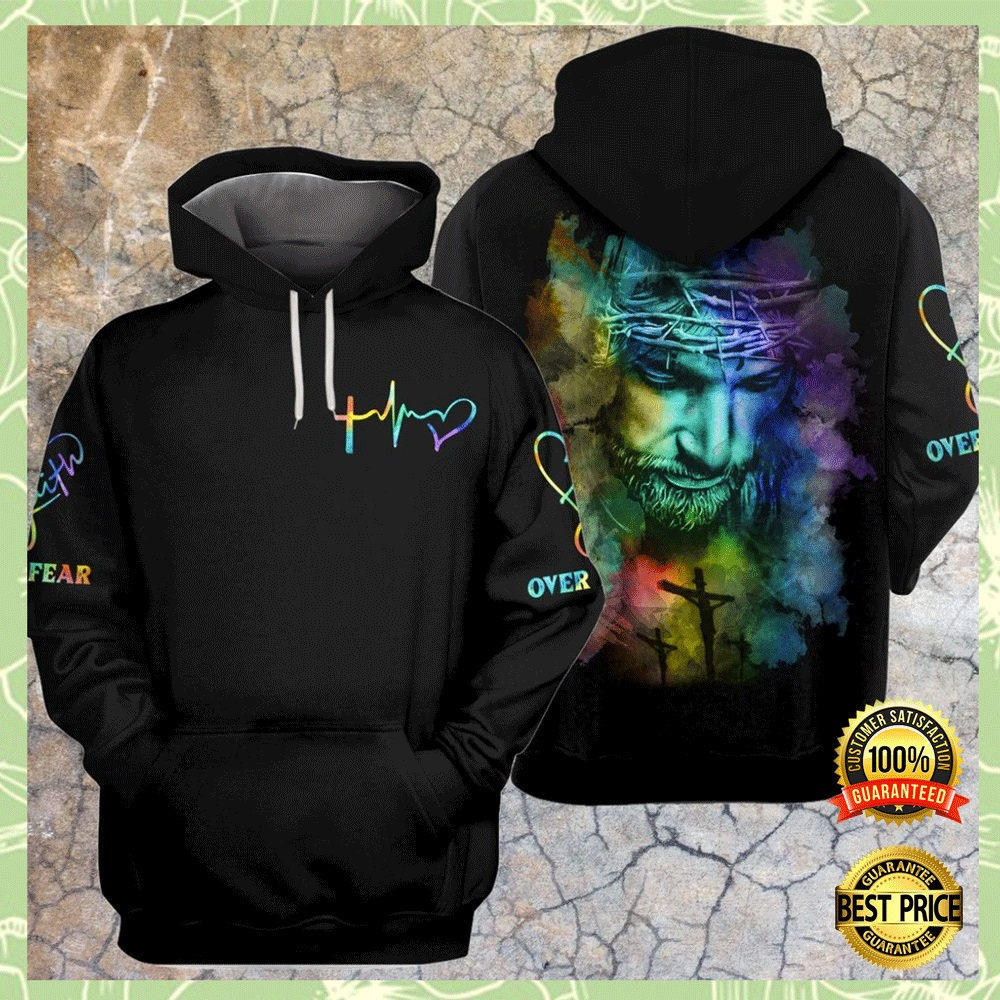 JESUS FAITH OVER FEAR COLORFUL ALL OVER PRINTED 3D HOODIE 4