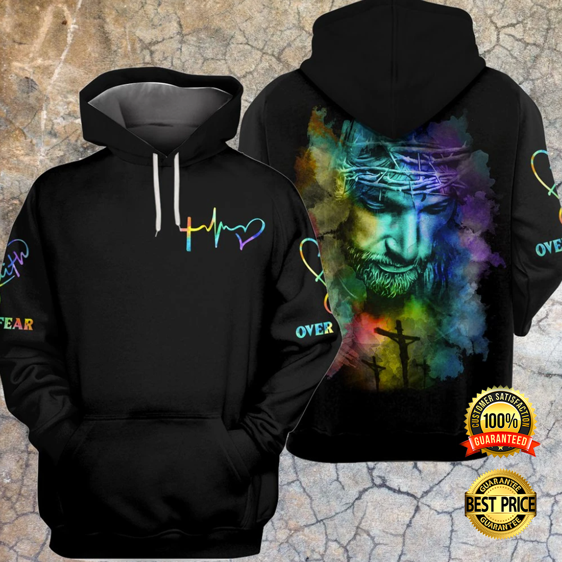 JESUS FAITH OVER FEAR COLORFUL ALL OVER PRINTED 3D HOODIE 5