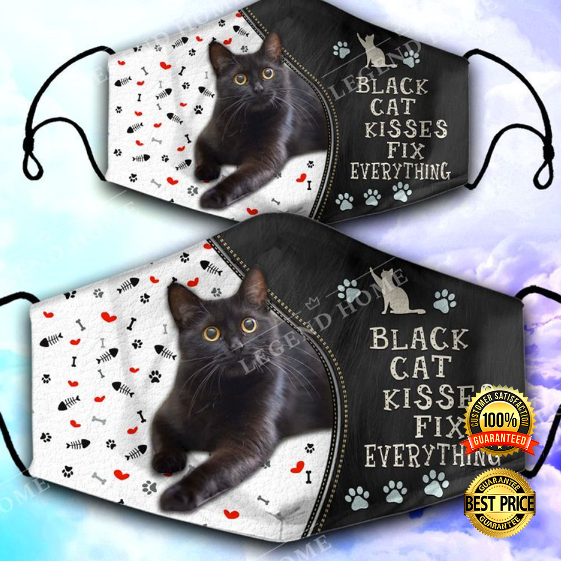 BLACK CAT KISSES FIX EVERYTHING FACE MASK 5