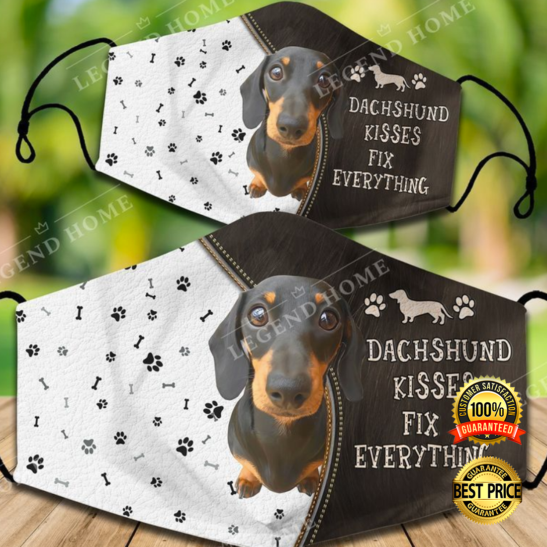 DACHSHUND KISSES FIX EVERYTHING FACE MASK 5
