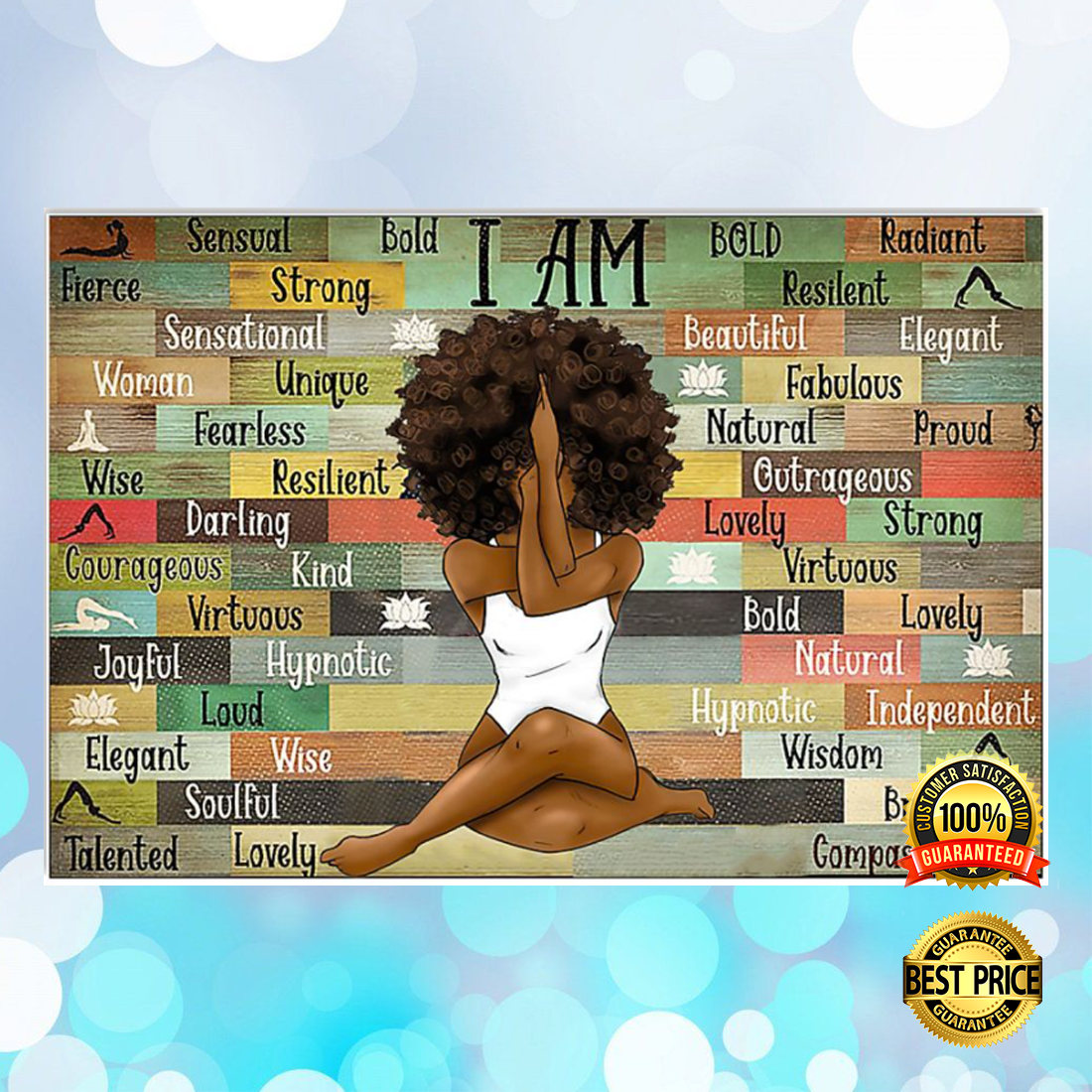 BLACK GIRL WITH YOGA I AM STRONG UNIQUE POSTER 6