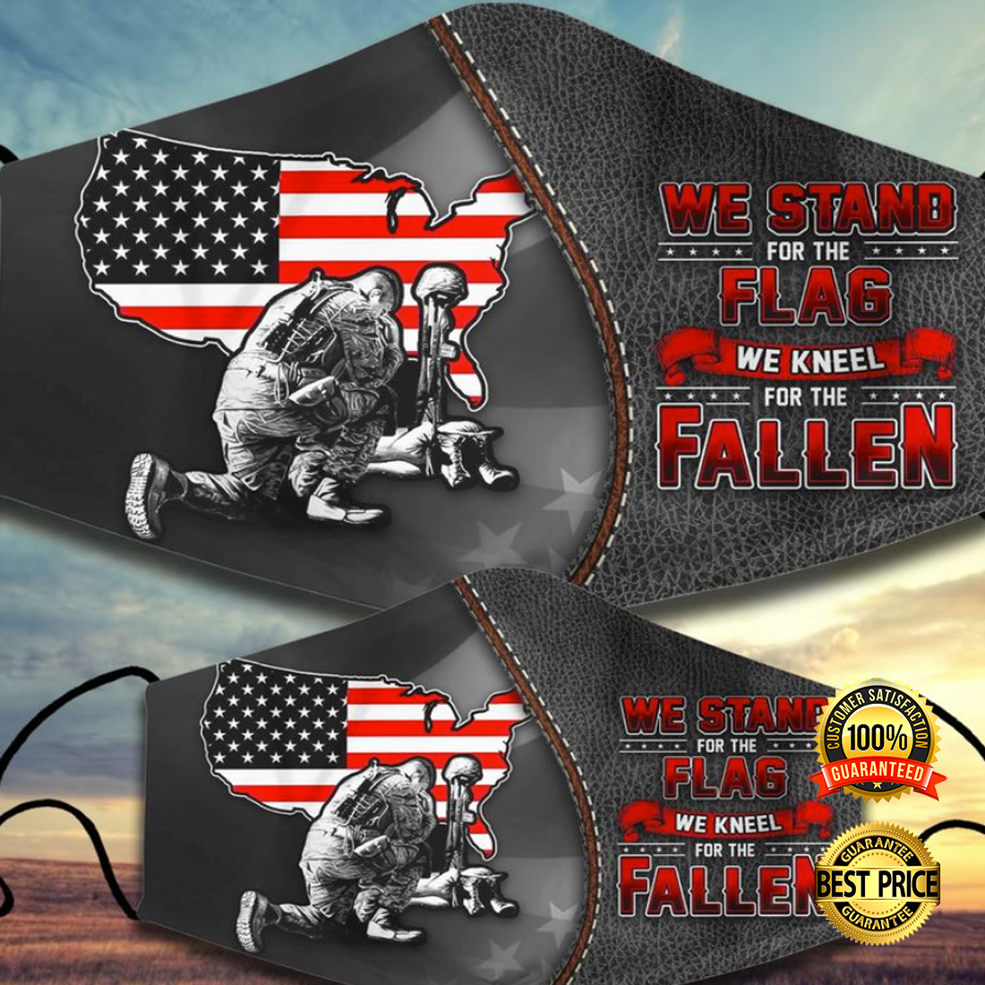 WE STAND FOR THE FLAG WE KNEEL FOR THE FALLEN FACE MASK 5