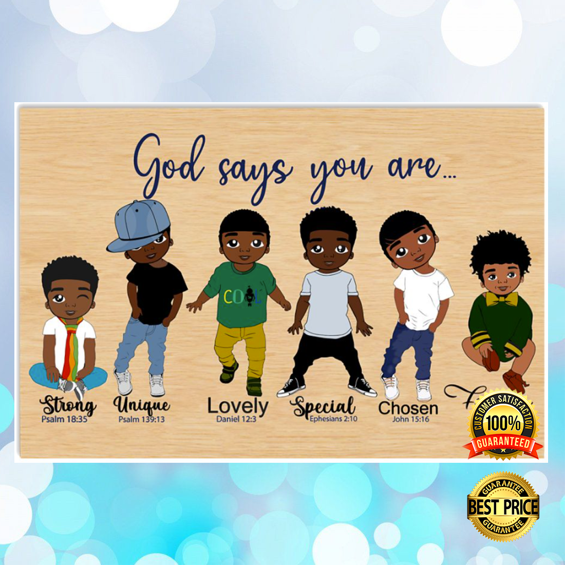 AFRICAN AMERICAN BOY GOD SAYS YOU ARE STRONG UNIQUE POSTER 6