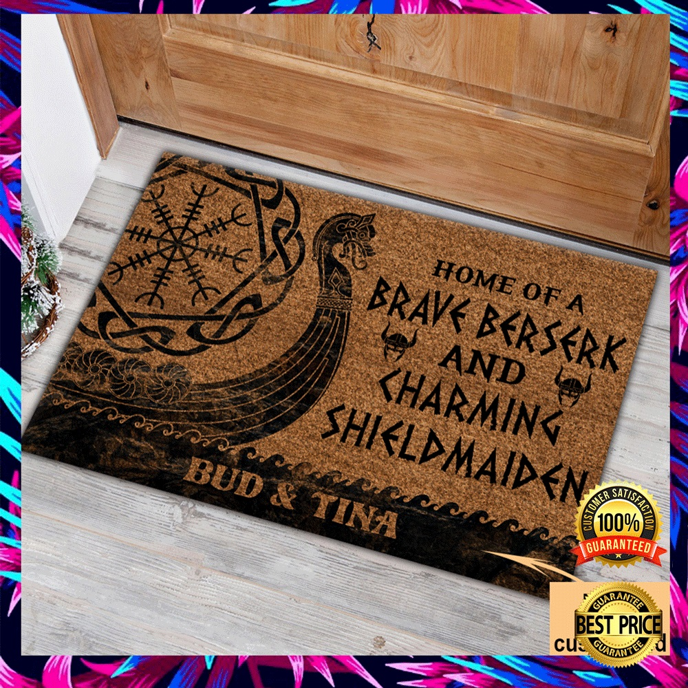 PERSONALIZED HOME OF A BRAVE BERSERK AND CHARMING SHIELDMAIDEN DOORMAT 4