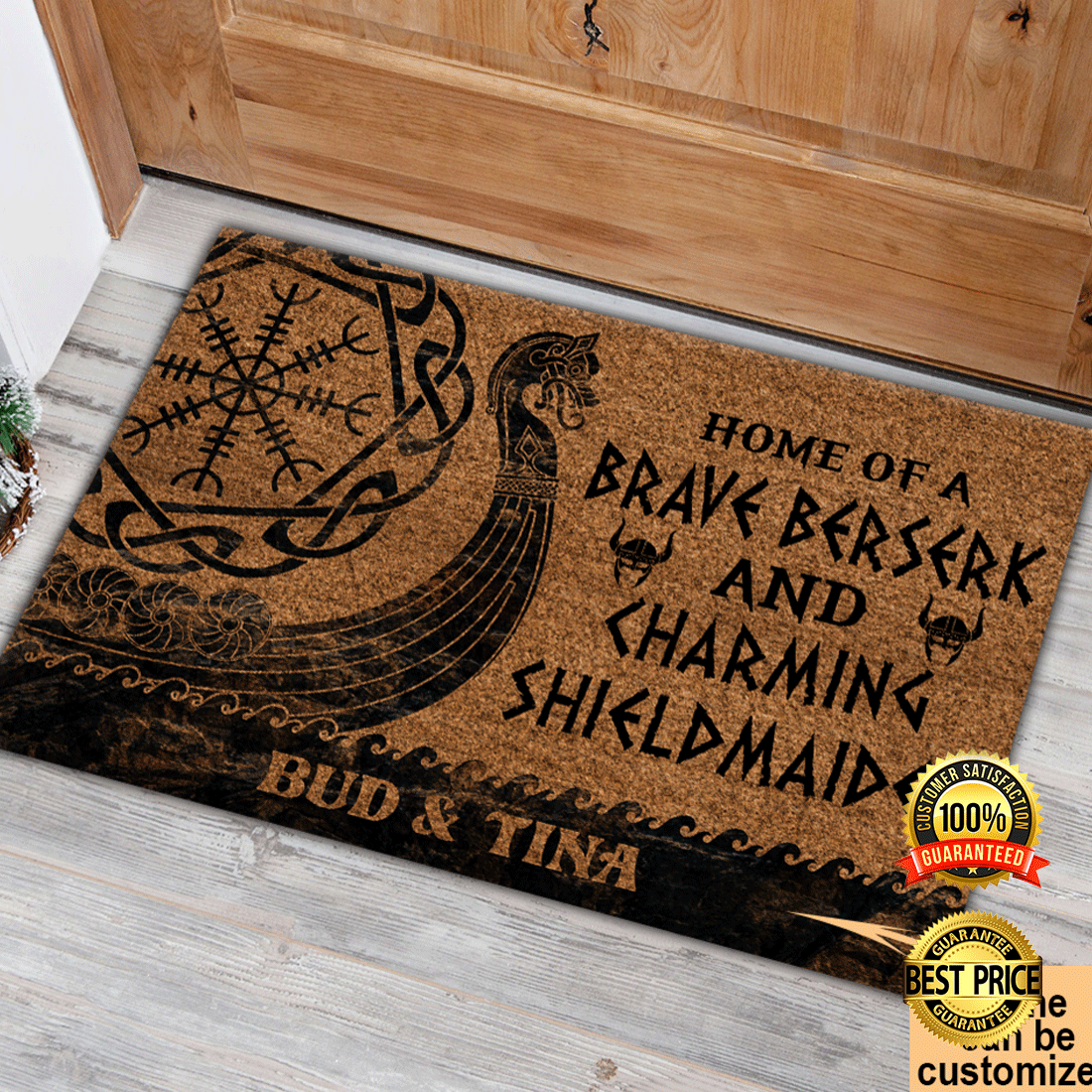 PERSONALIZED HOME OF A BRAVE BERSERK AND CHARMING SHIELDMAIDEN DOORMAT 5
