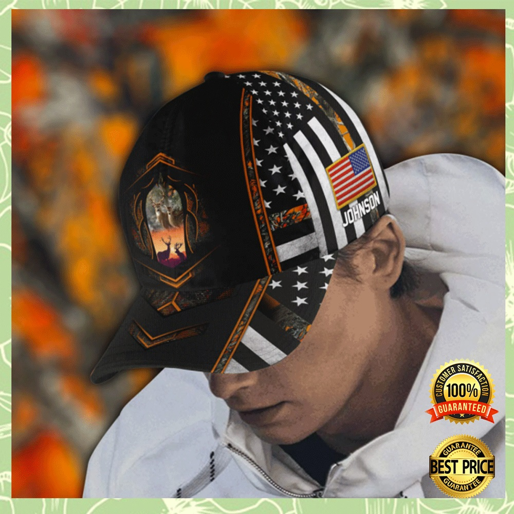 PERSONALIZED DEER HUNTING AMERICAN FLAG CAP 5