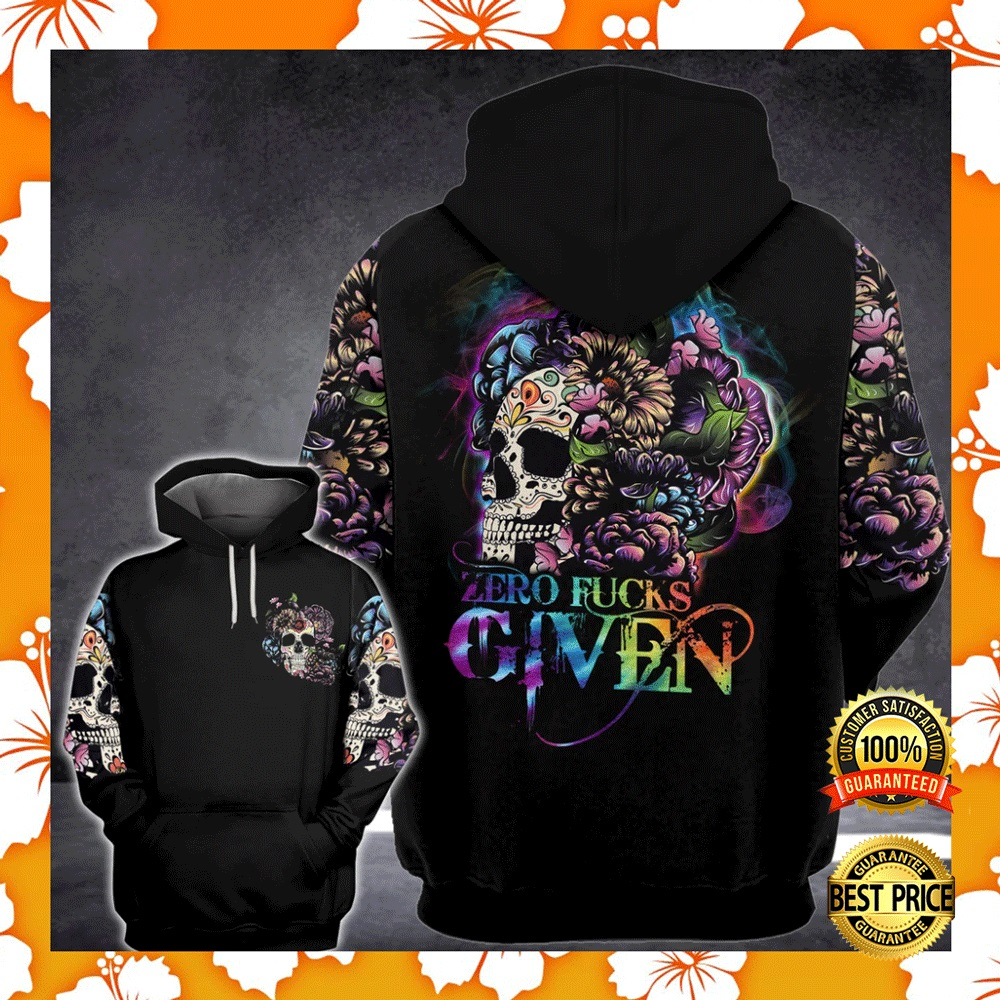 FLORAL SKULL ZERO FUCKS GIVEN ALL OVER PRINTED 3D HOODIE 4